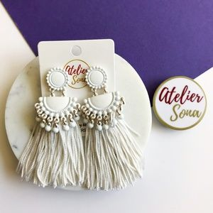 Embellished Tassel Earrings - White